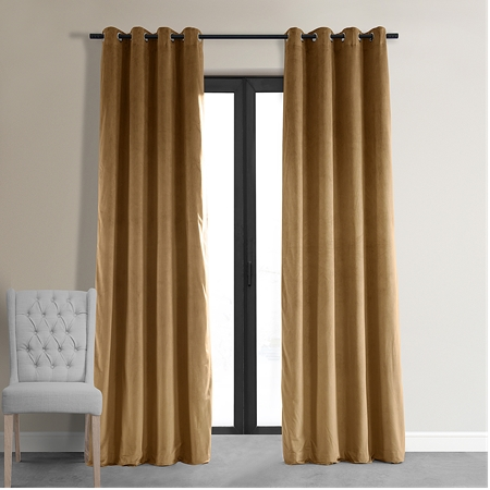 Signature Amber Gold Grommet Blackout Velvet Curtain