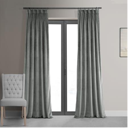 Signature Silver Grey Pleated Blackout Velvet Curtain