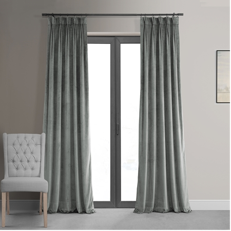 Signature Silver Grey Pleated Blackout Velvet Curtain
