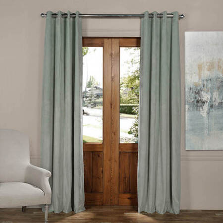 Signature Tidewater Green Grommet Blackout Velvet Curtain