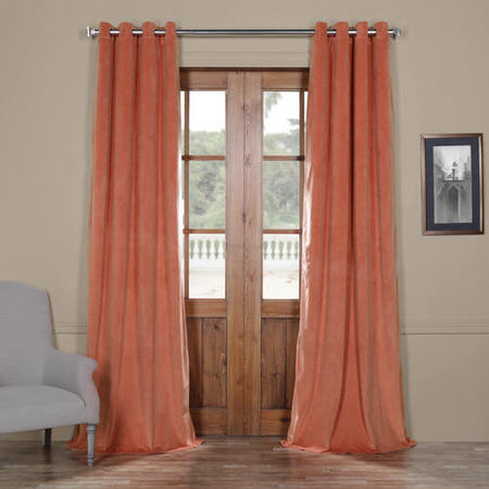 Signature Desert Coral Grommet Blackout Velvet Curtain