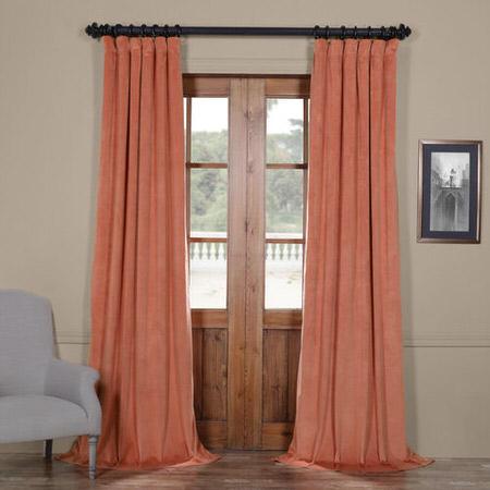 Signature Desert Coral Blackout Velvet Curtain