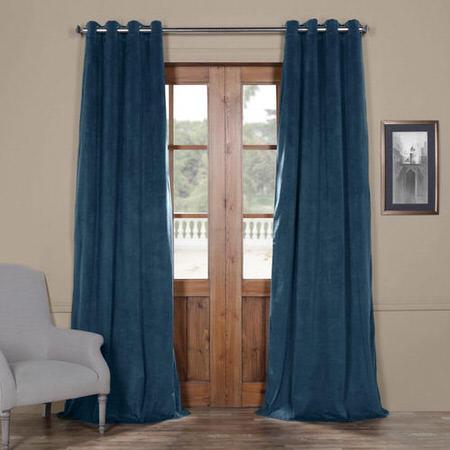 Signature Twilight Blue Grommet Blackout Velvet Curtain
