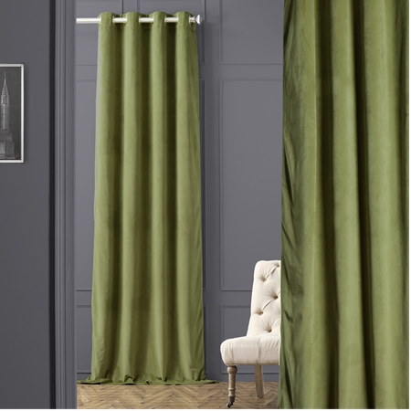 Signature Pernial Green Grommet Blackout Velvet Curtain