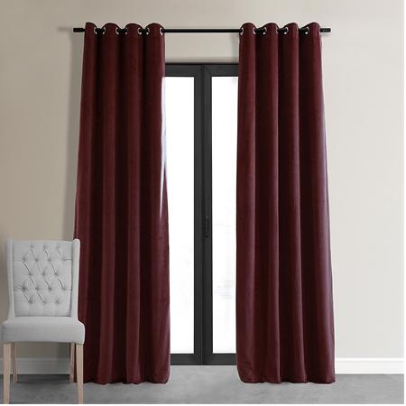Signature Burgundy Grommet Blackout Velvet Curtain