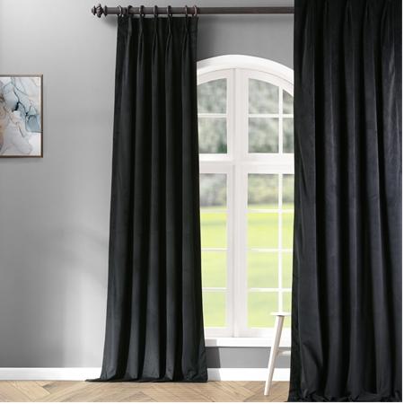 Signature Warm Black Pleated Blackout Velvet Curtain