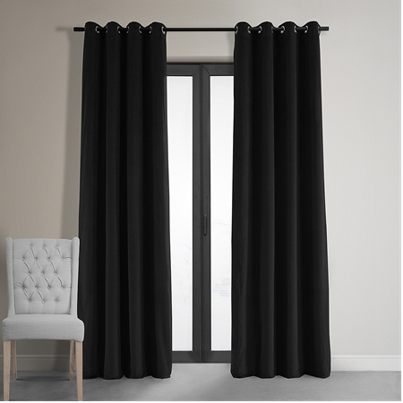 Signature Warm Black Grommet Blackout Velvet Curtain
