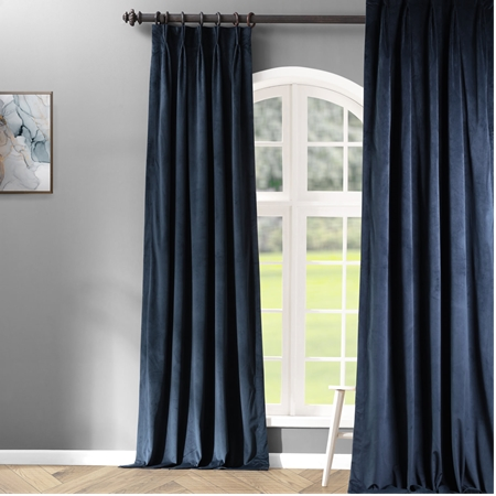 Signature Midnight Blue Pleated Blackout Velvet Curtain