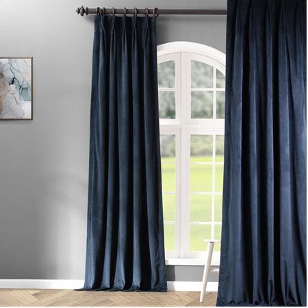 Signature Midnight Blue Pleated Blackout Velvet Curtain