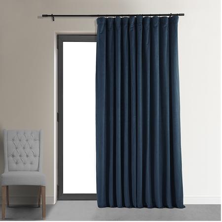 Signature Midnight Blue Double Wide Velvet Blackout Pole Pocket Curtain