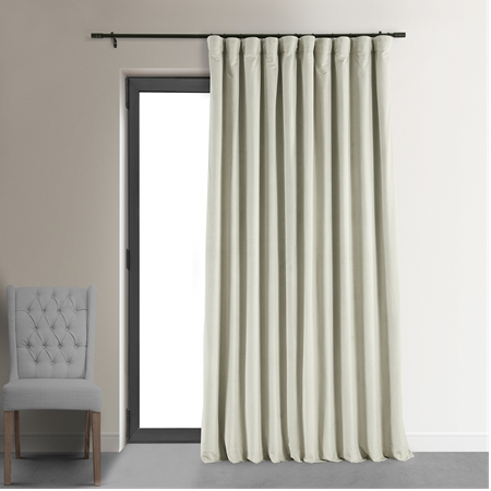 Signature Off White Double Wide Velvet Blackout Pole Pocket Curtain