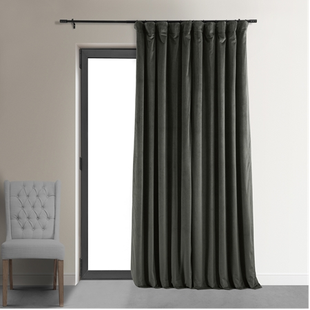 Signature Gunmetal Grey Doublewide Blackout Velvet Curtain