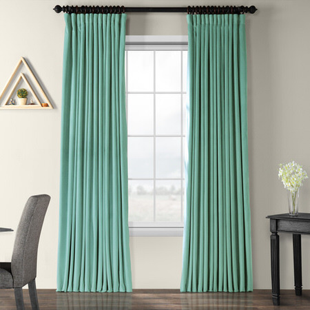 Signature Aqua Mist Doublewide Blackout Velvet Curtain