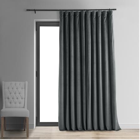 Signature Natural Grey Doublewide Blackout Velvet Curtain