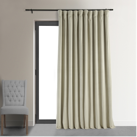 Signature Cool Beige Doublewide Blackout Velvet Curtain