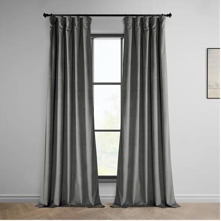 Destiny Grey Heritage Plush Velvet Curtain