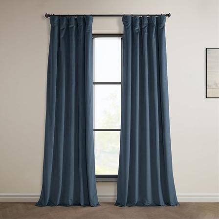 London Blue Heritage Plush Velvet Curtain