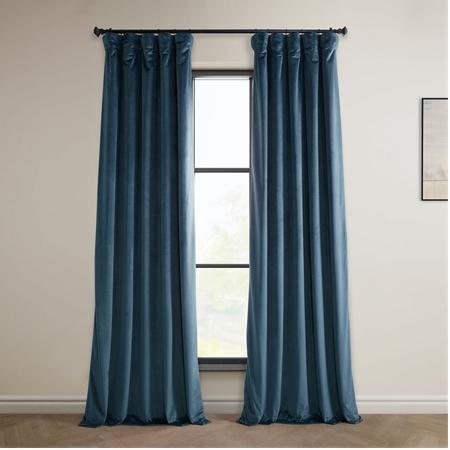Avalon Blue Heritage Plush Velvet Curtain