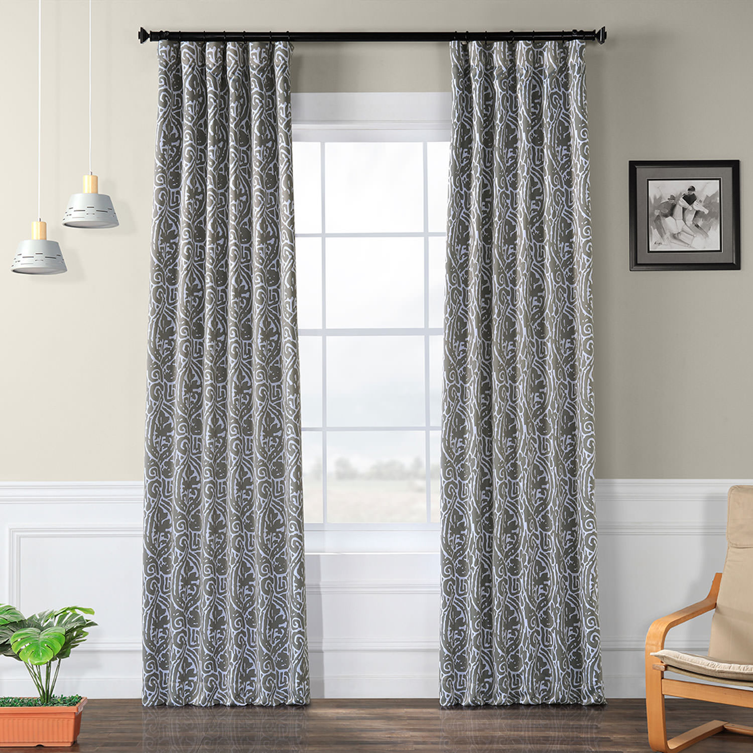 Image of Abstract Lunar Grey Blackout Curtain