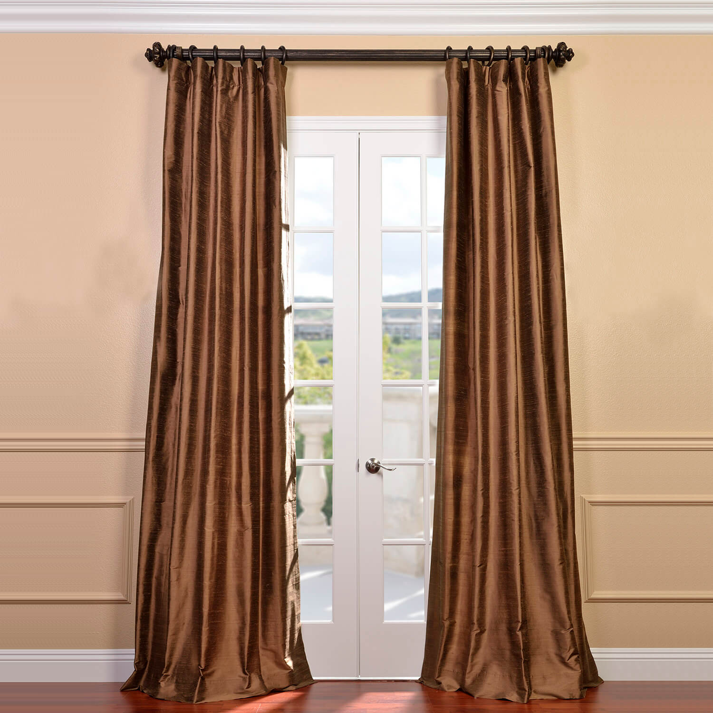 Mocha textured dupioni silk curtain cognacsilktaffetacurtain for Silk curtains texture