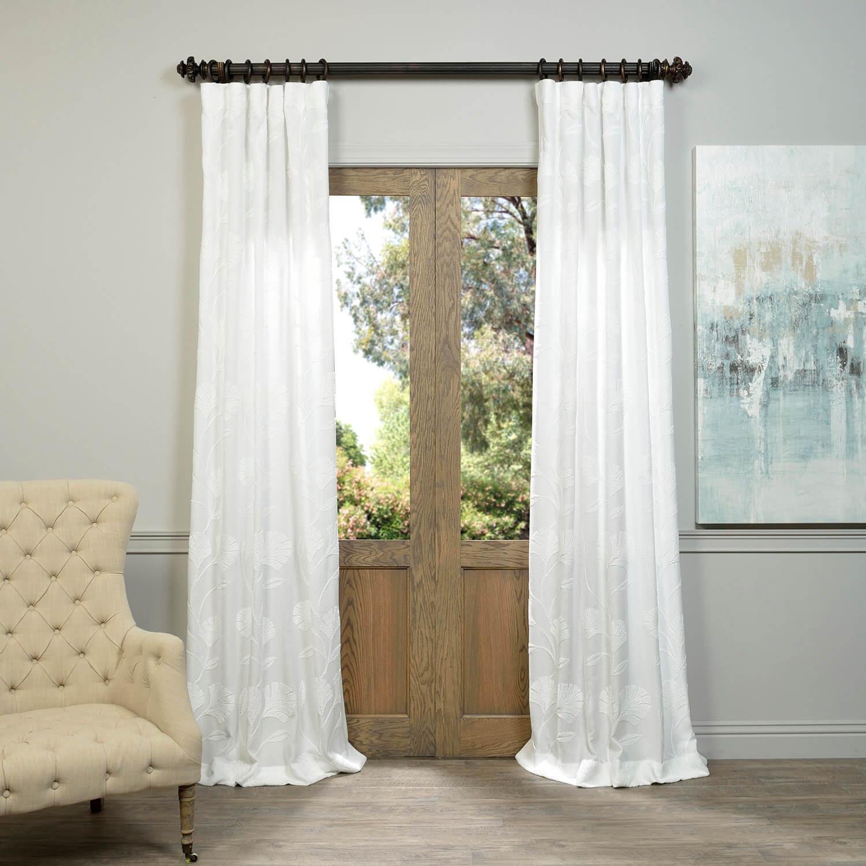 Ginko White Embroidered Crewel Faux Linen Curtain Cognacsilktaffetacurtain