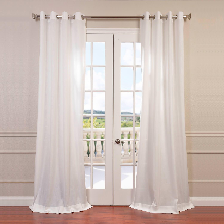 Semi Sheer Curtains For Kitchen Curtain Linen Textured: Cloud Faux Linen Grommet Semi Sheer Curtain