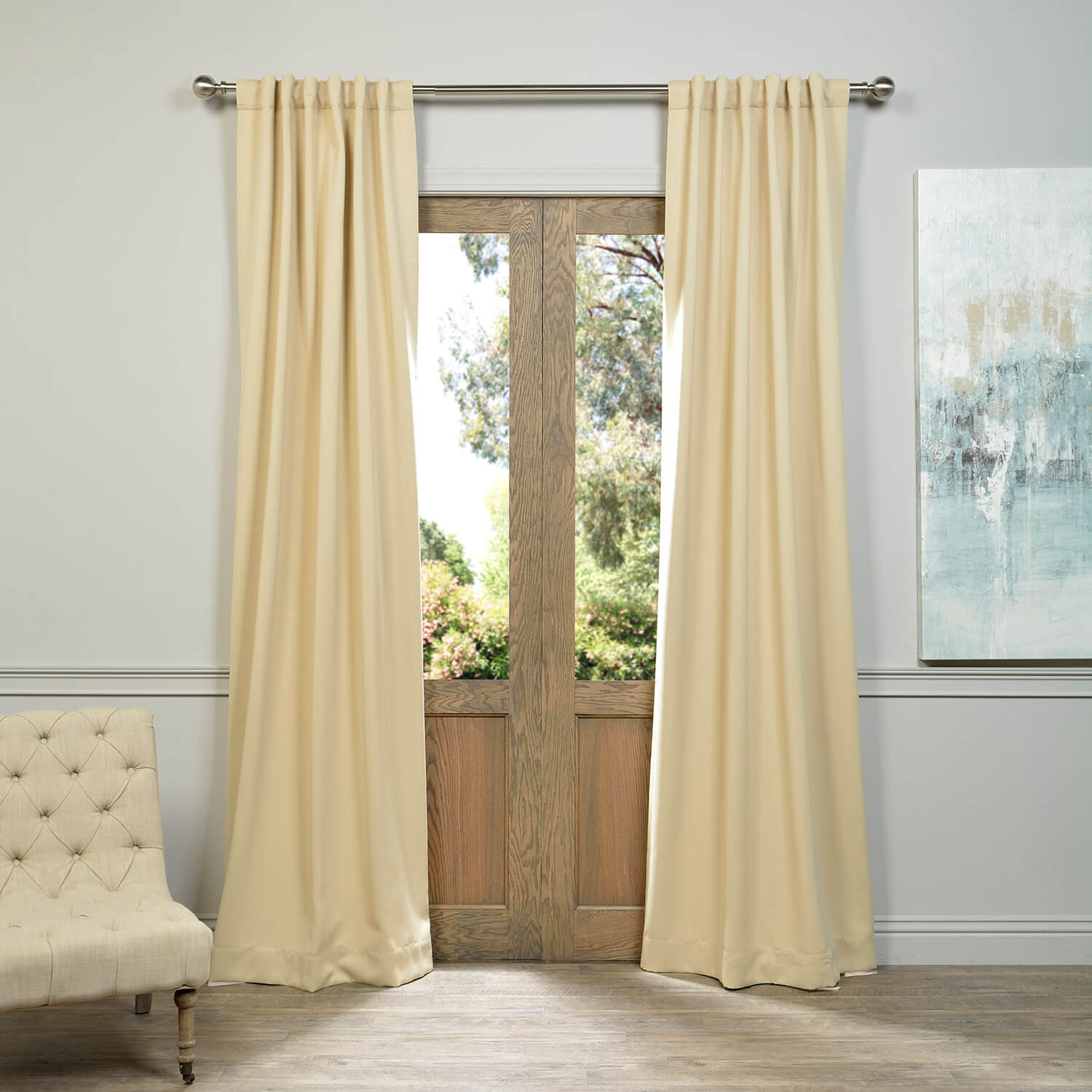 Pole Pocket Biscotti Blackout Curtain