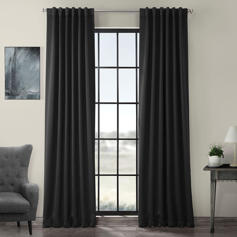 Pole Pocket Jet Black Blackout Curtain