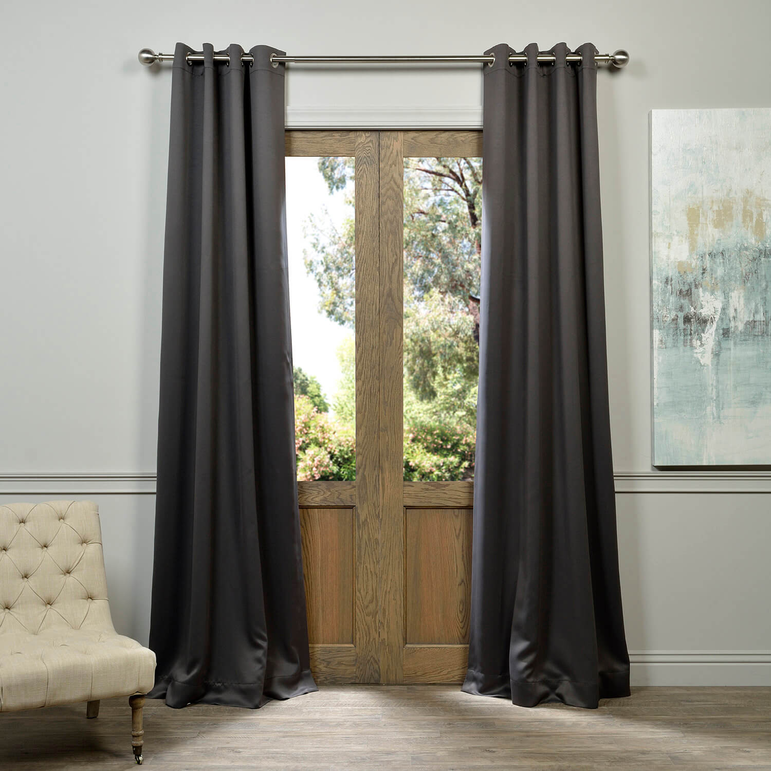 Anthracite Grey Grommet Blackout Curtain