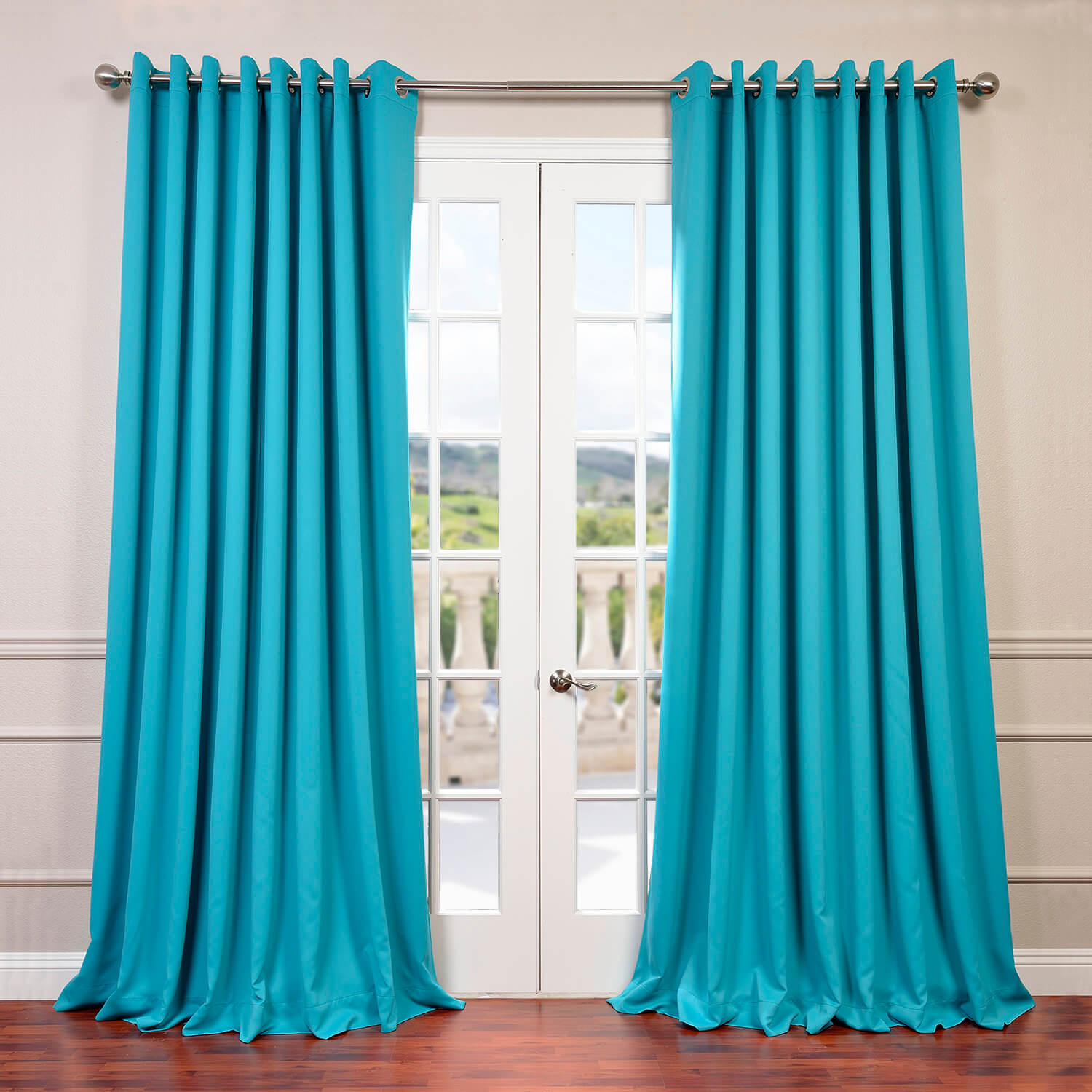 Turquoise Blue Grommet Doublewide Blackout Curtain