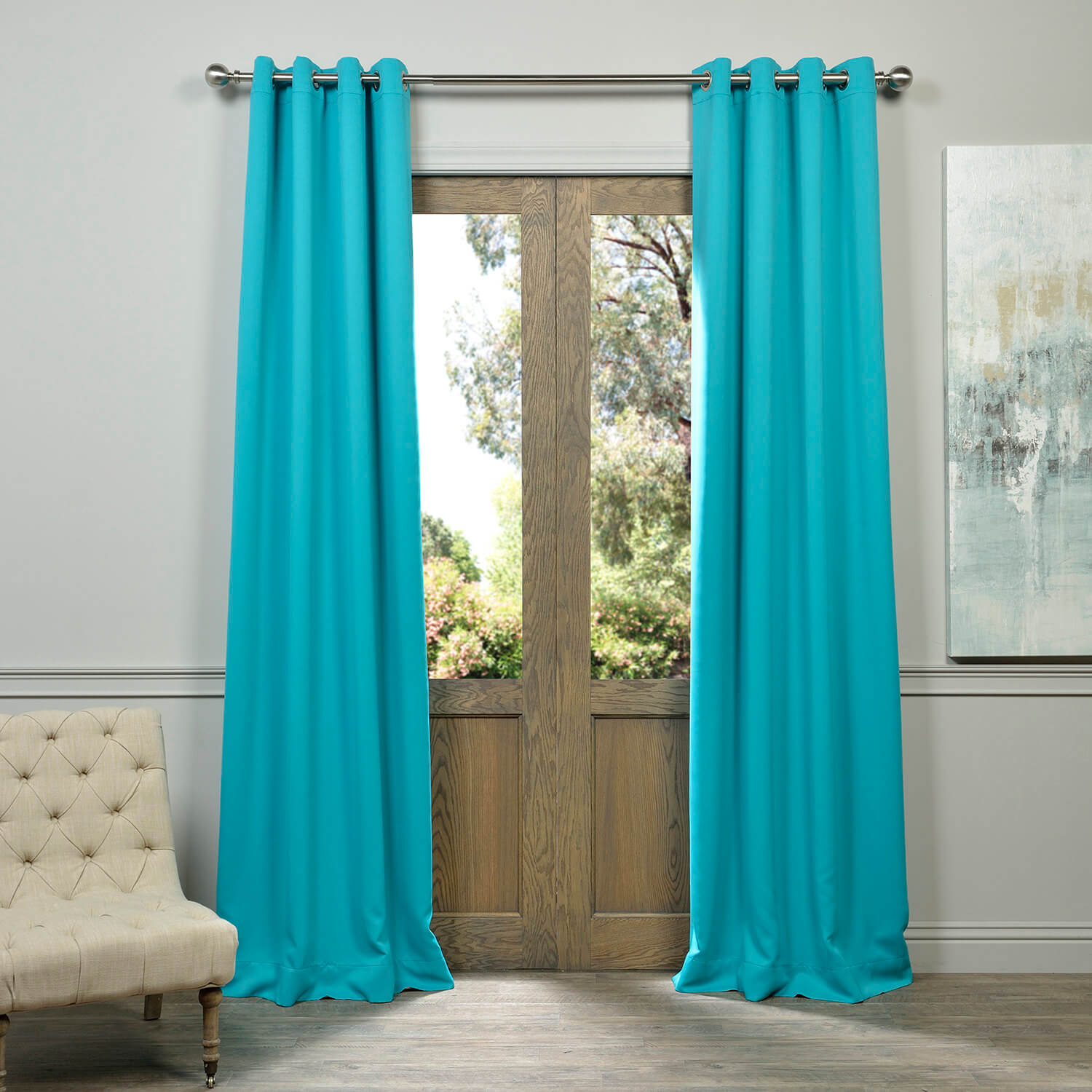 Turquoise Blue Grommet Blackout Curtain