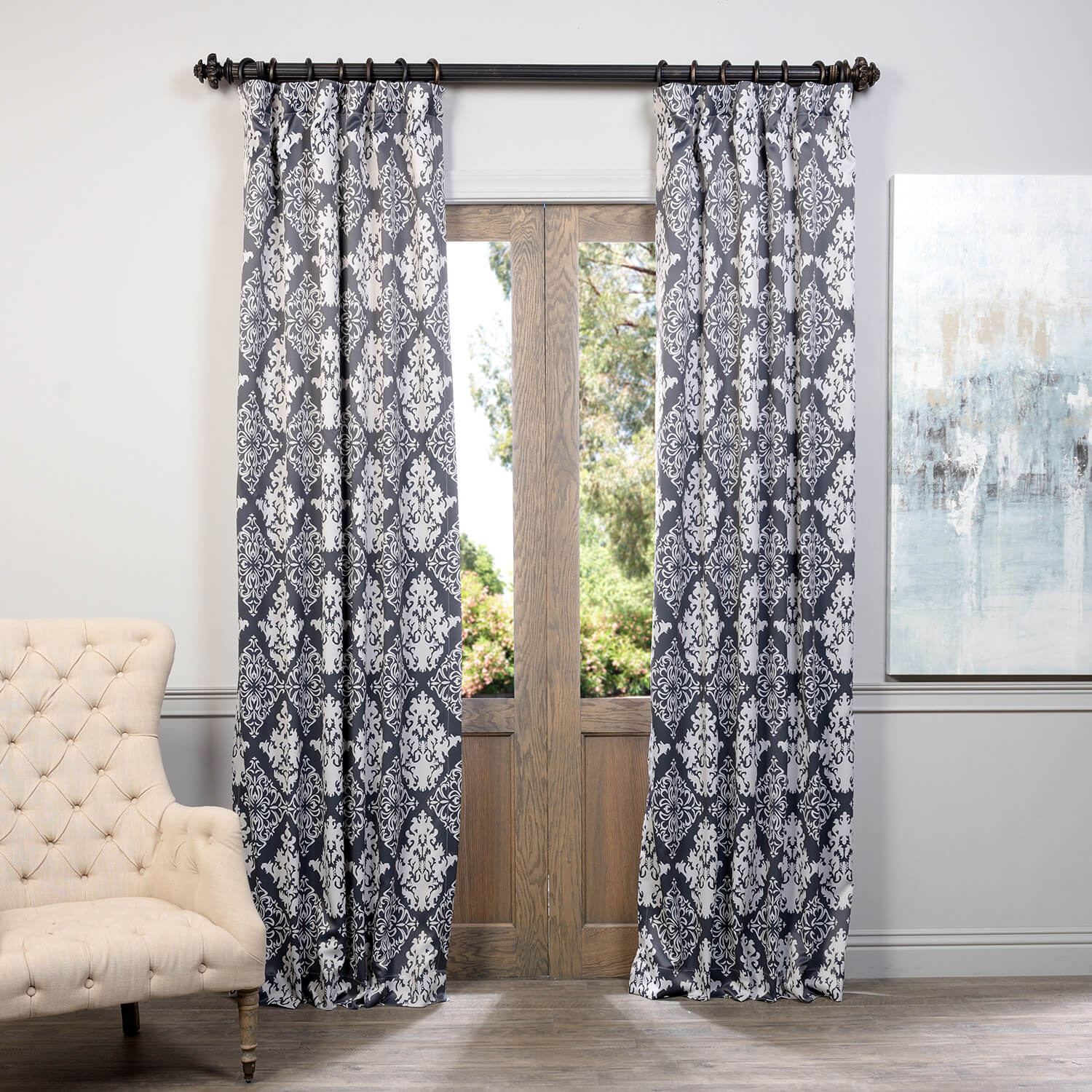 Damask Charcoal Blackout Curtain