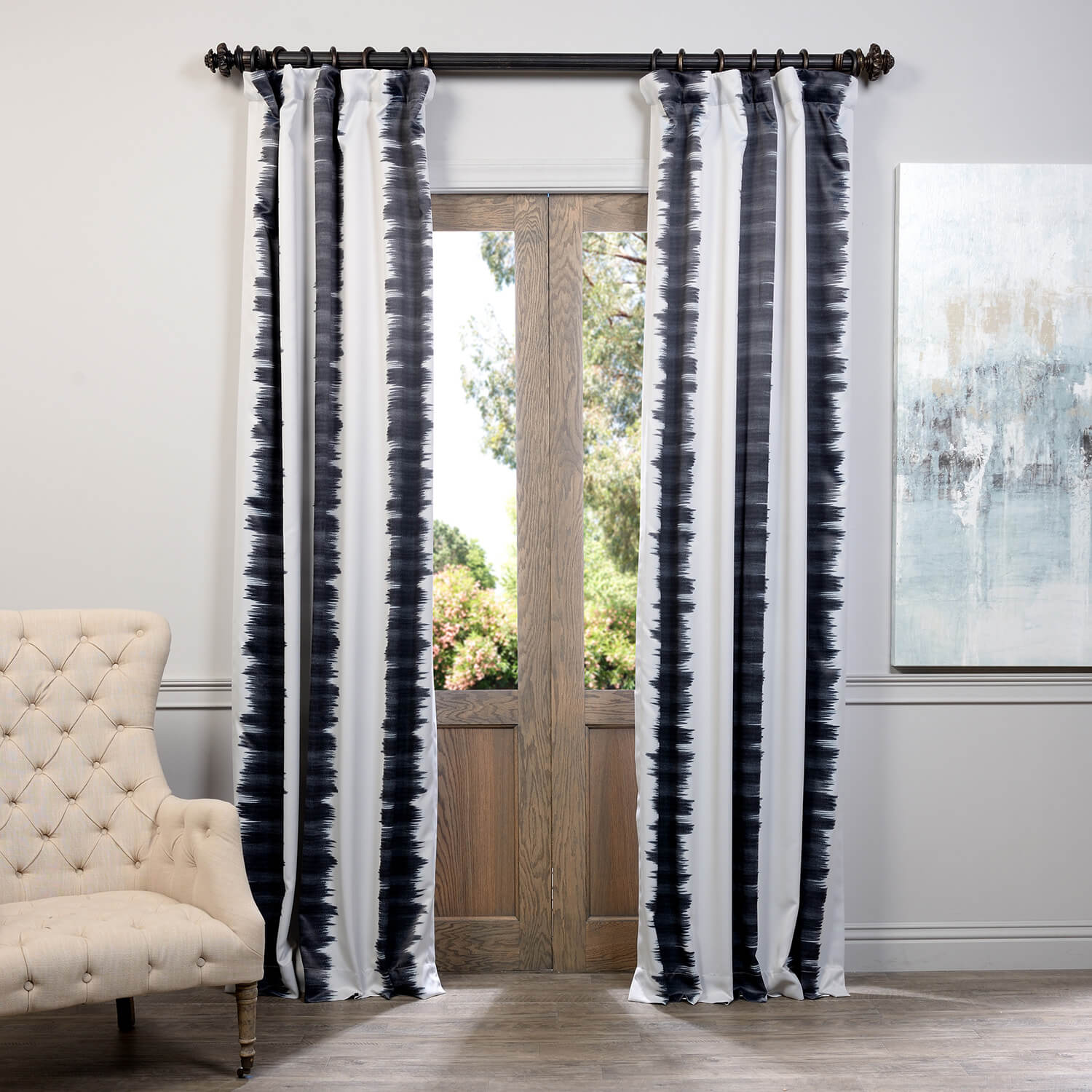 Flambe Black Blackout Curtain