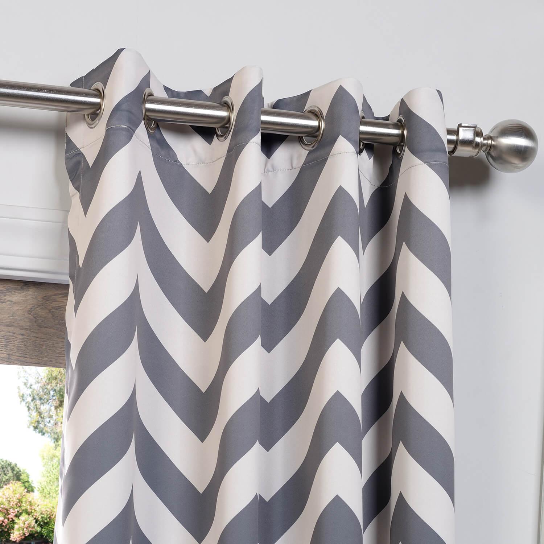 Fez Grey & Tan Grommet Blackout Curtain