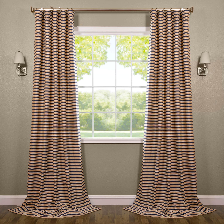 Blue & Beige Hand Weaved Cotton Curtain