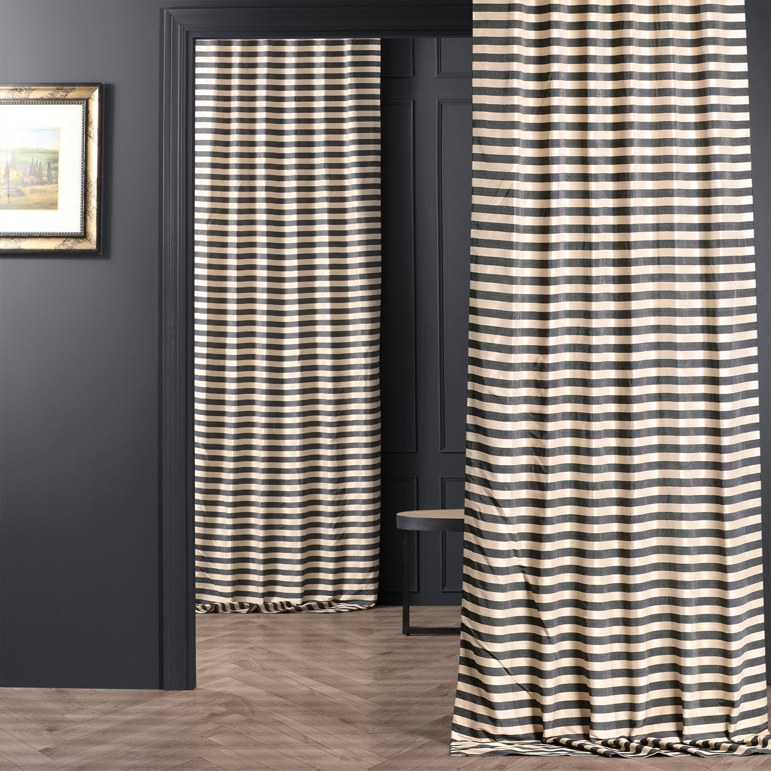 Black & Cream Hand Weaved Cotton Curtain