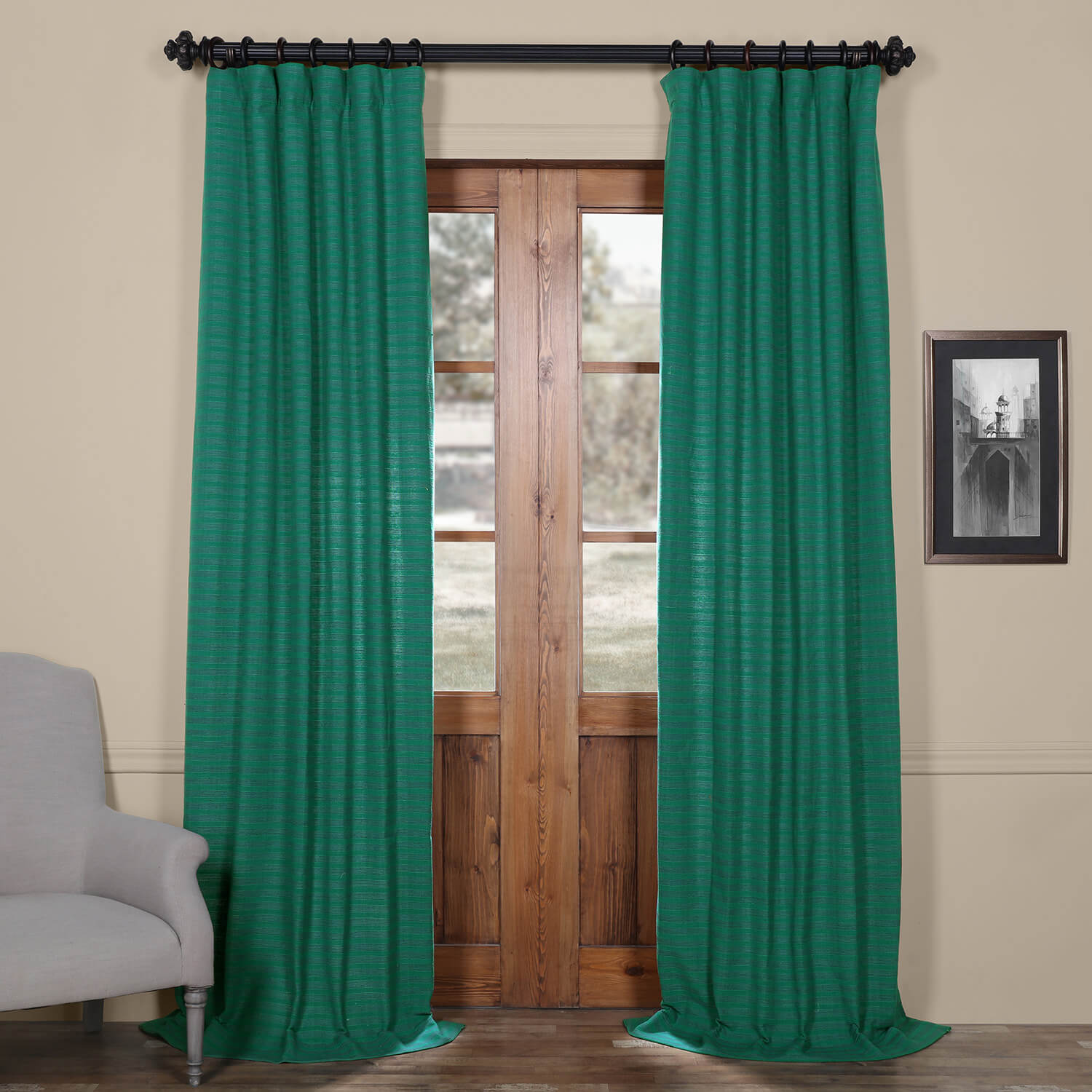 Teal Hand Weaved Cotton Curtain