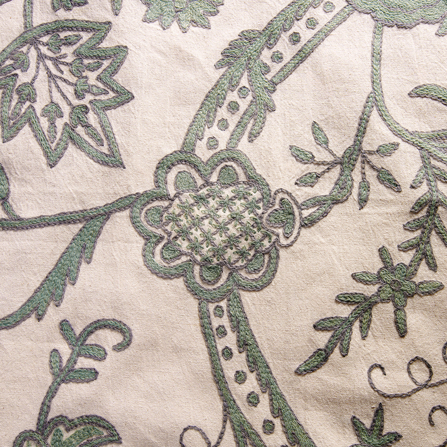 Sophie Embroidered Cotton Crewel Swatch