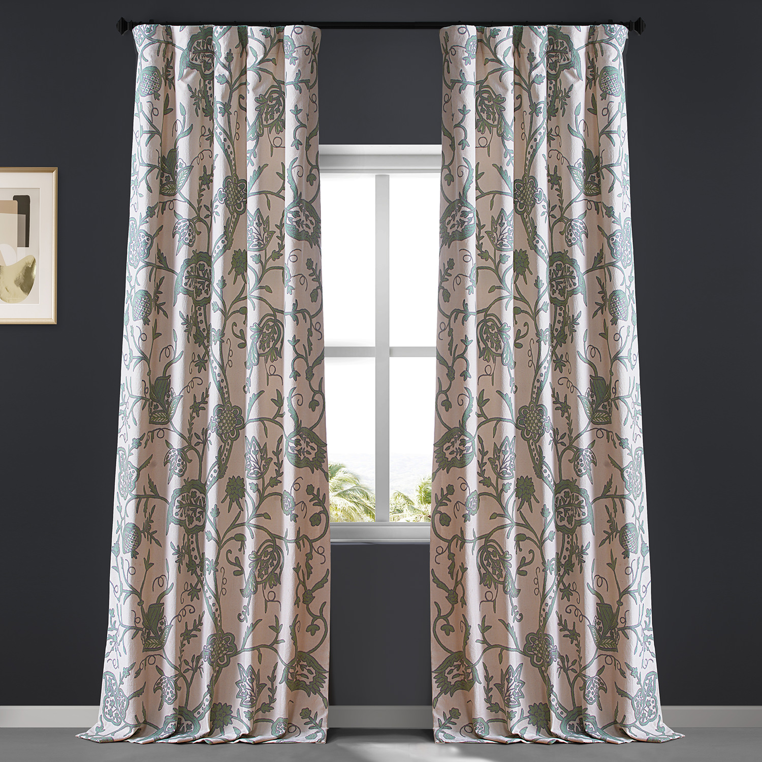 Sophie Embroidered Cotton Crewel Curtain