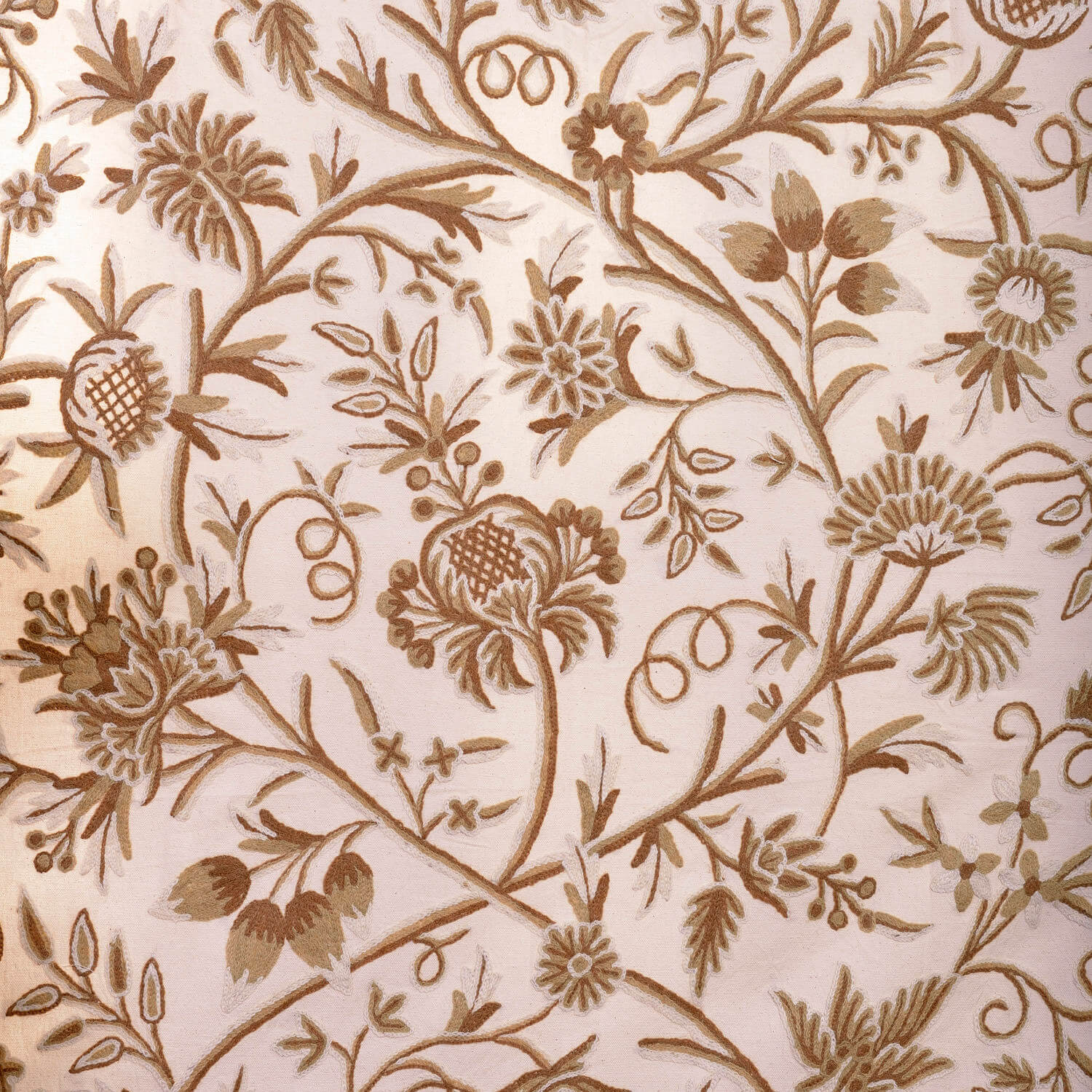 Chantal Embroidered Cotton Crewel Swatch