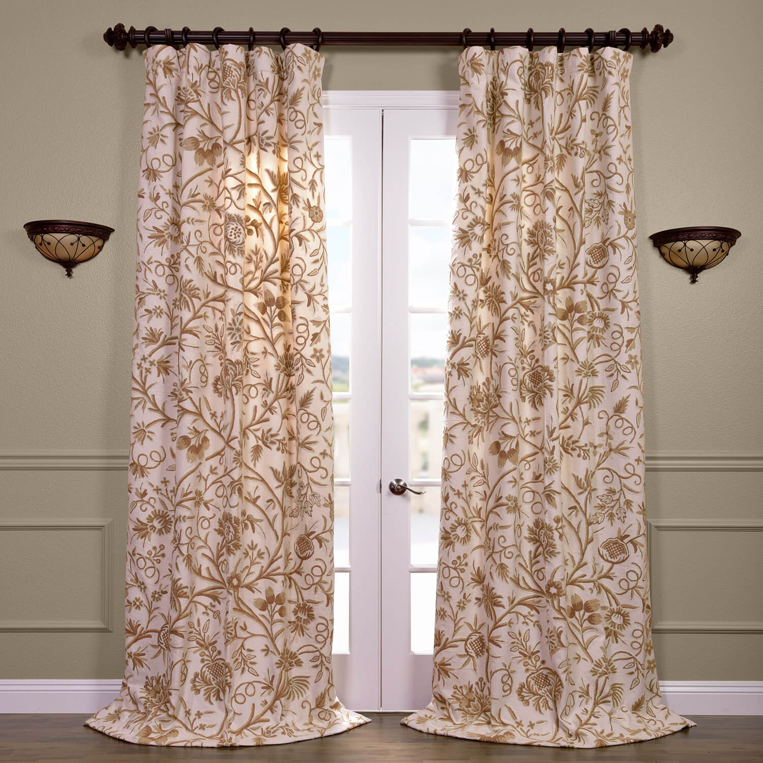 Chantal Embroidered Cotton Crewel Curtain