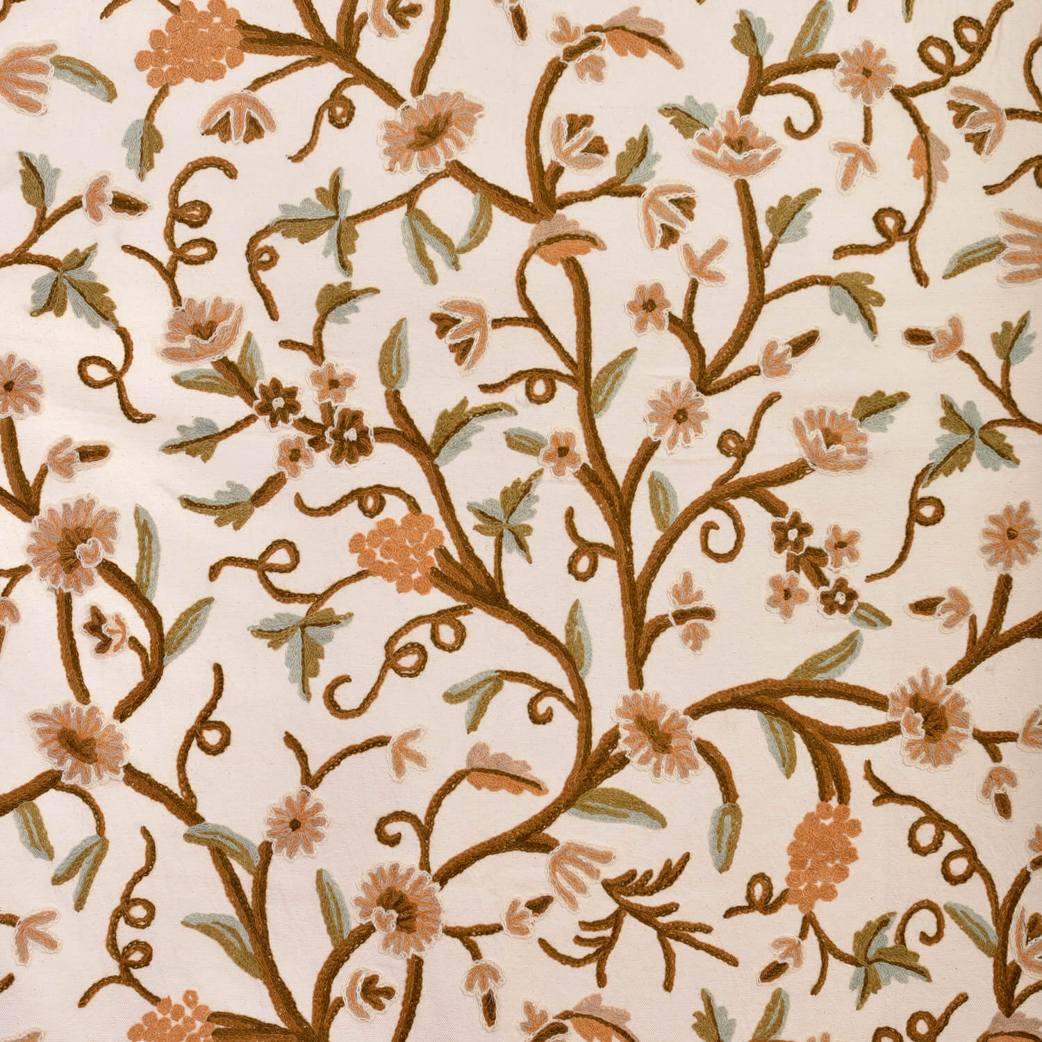 Elise Embroidered Cotton Crewel Swatch