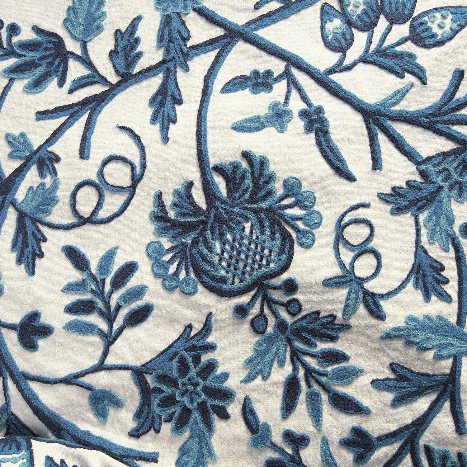 Norway Embroidered Cotton Crewel Swatch