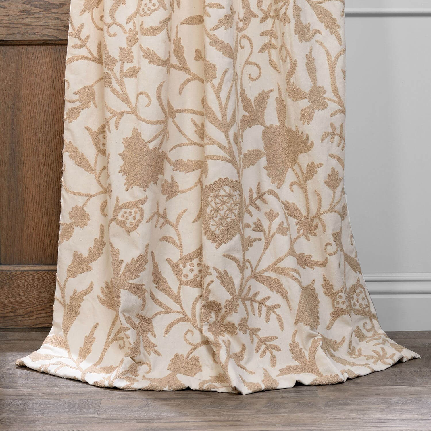 Celine Cream Embroidered Cotton Crewel Curtain