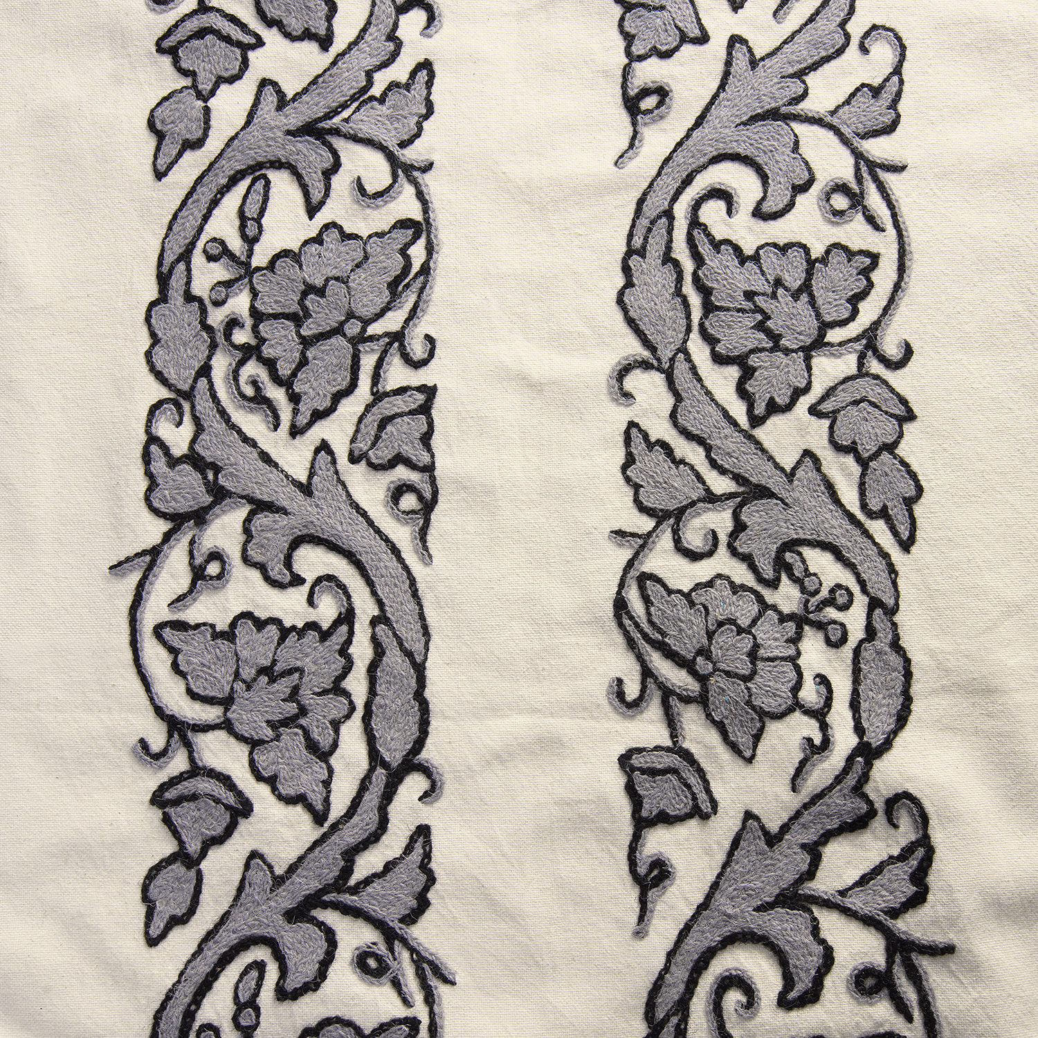 Florence Grey Embroidered Cotton Crewel Swatch