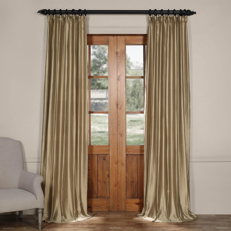 Silver Taupe Cotton Silk Curtain