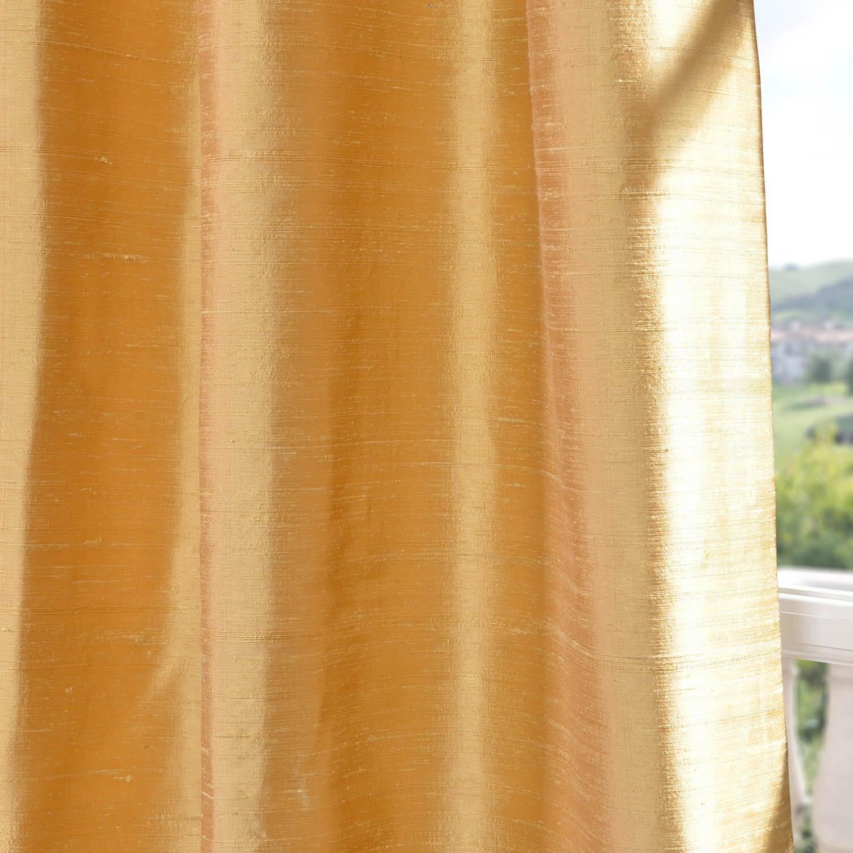 Sunrise Gold Textured Dupioni Silk Swatch