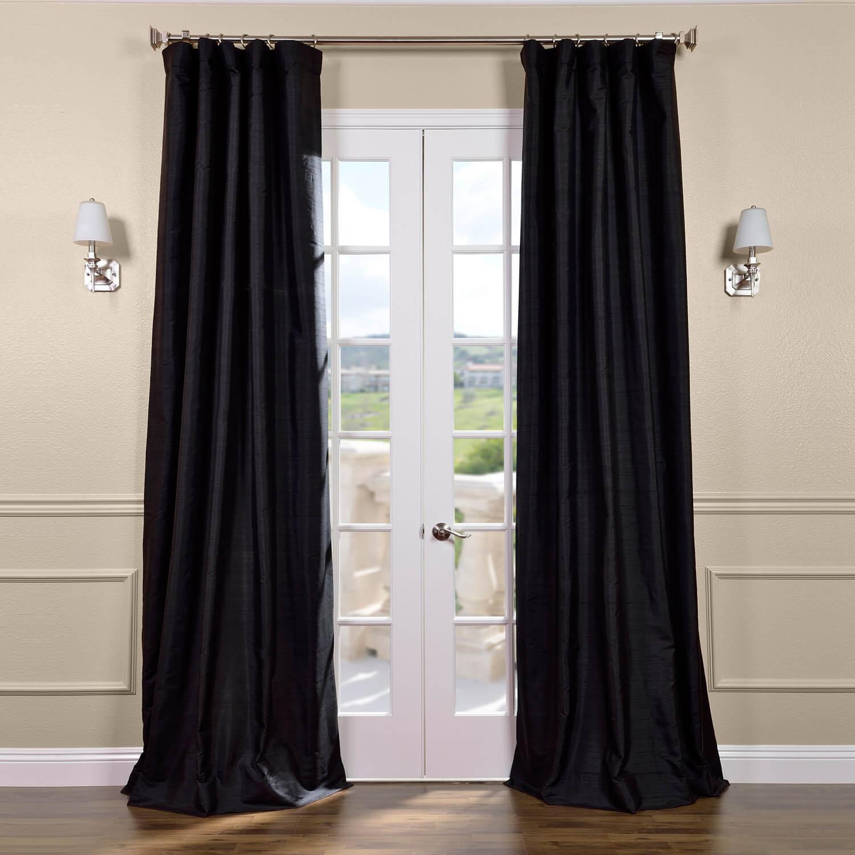 Black Textured Dupioni Silk Curtain