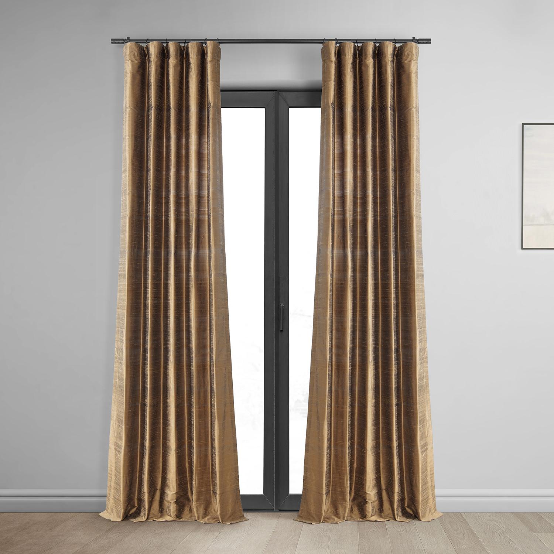 Mocha Textured Dupioni Silk Curtain