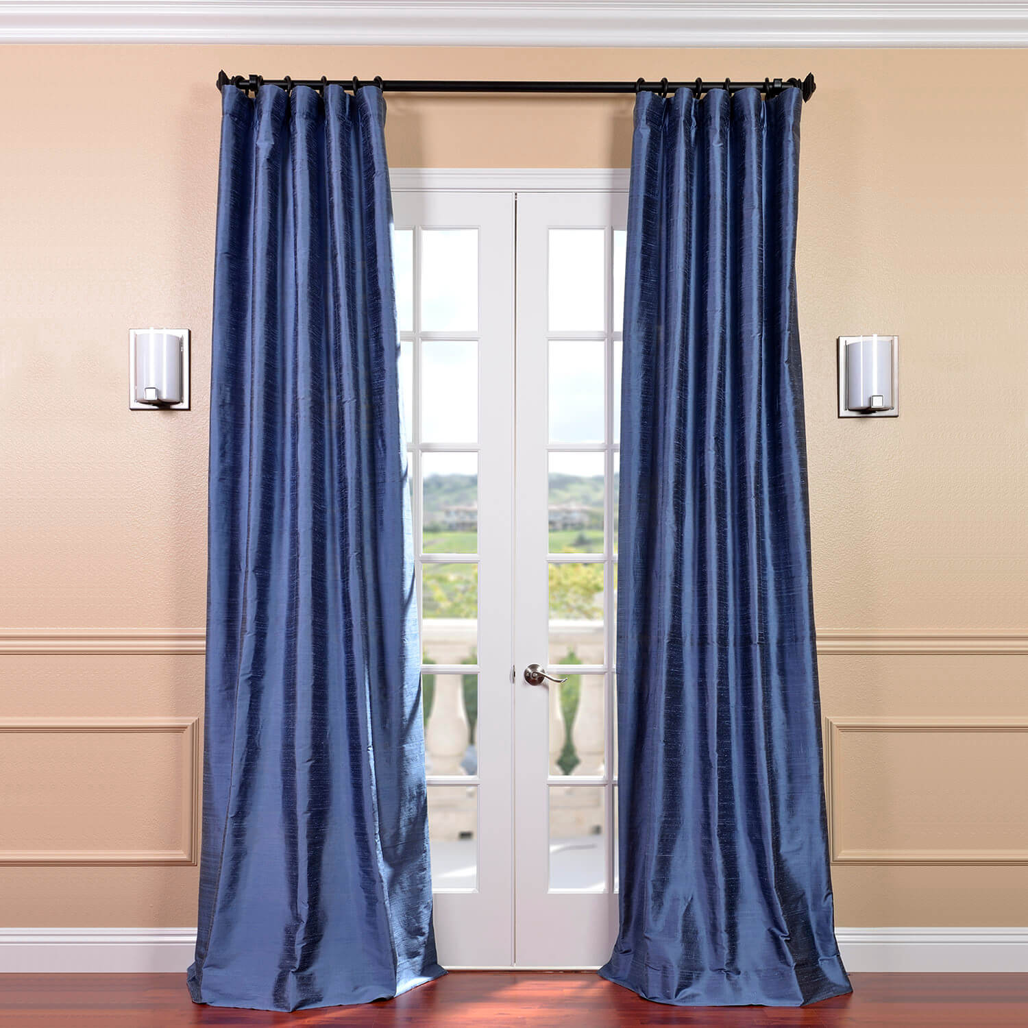 Winter Blue Textured Dupioni Silk Curtain